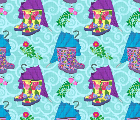 Happy Spring Wellies fabric by shellypenko on Spoonflower - custom fabric