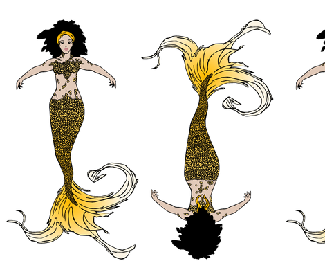 Golden Mermaid Doll fabric by pond_ripple on Spoonflower - custom fabric