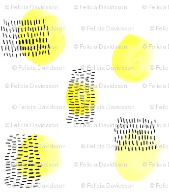 Black ink and yellow dots