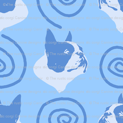 Whimsical Boston Terrier faces - blue