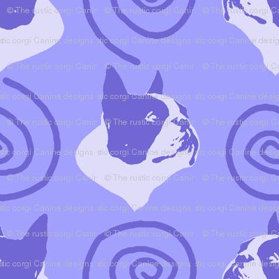 Whimsical Boston Terrier faces - purple