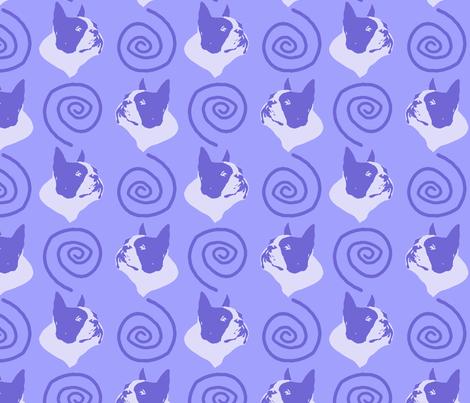 Whimsical Boston Terrier faces - purple fabric by rusticcorgi on Spoonflower - custom fabric