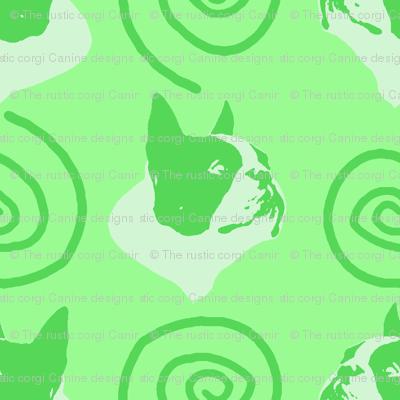 Whimsical Boston Terrier faces - green