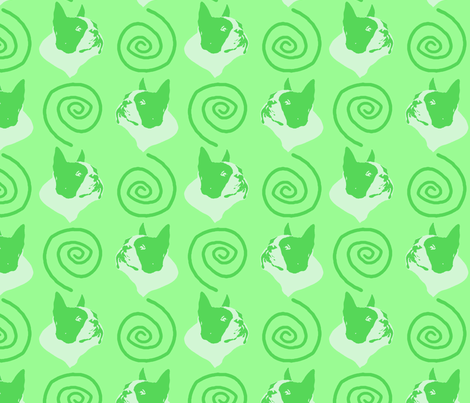 Whimsical Boston Terrier faces - green fabric by rusticcorgi on Spoonflower - custom fabric