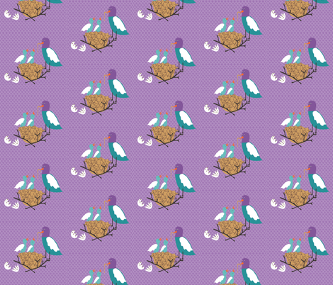 Baby birds in nest fabric by vanillabeandesigns on Spoonflower - custom fabric
