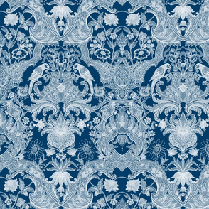Parrot Damask ~ Two Tone ~ Lonely Angel and White