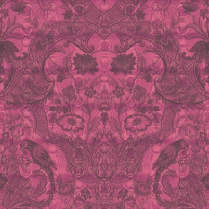 Parrot Damask ~ Two Tone ~ Raspberry Glace' and Pewter ~ Moire