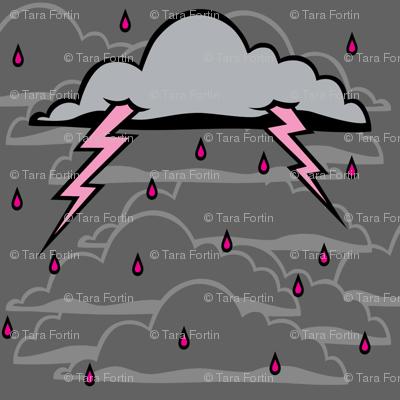 Pink Lightning Storm Coluds