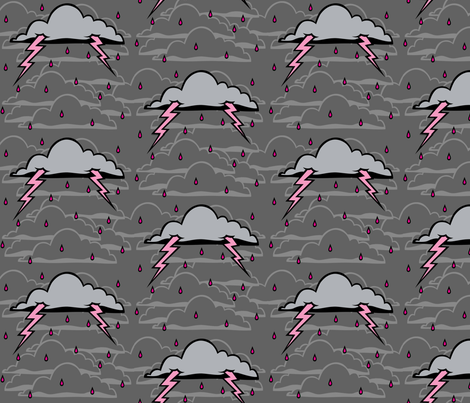 Pink Lightning Storm Coluds fabric by blacklilypie on Spoonflower - custom fabric