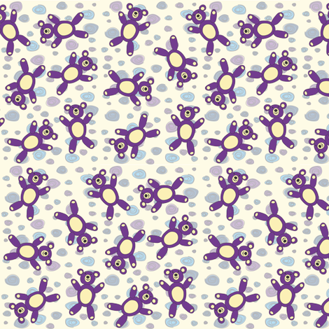 Small scattered Teddy Bears fabric by vanillabeandesigns on Spoonflower - custom fabric