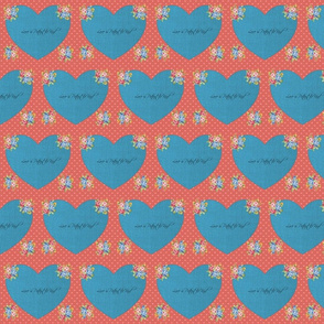 Coral and Blue Hearts for You