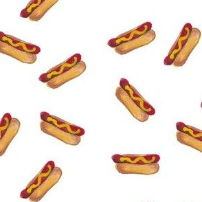 watercolor hot dogs