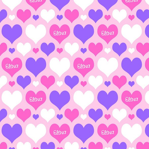 Personalised Name Hearts - Pink Purple on Pink
