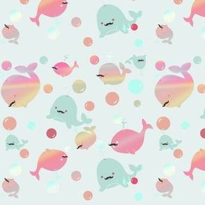 Bubblegum WHALES!!! (now with mustaches)