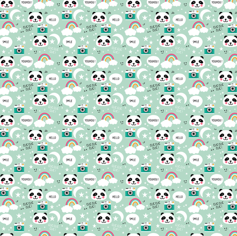 Panda kawaii fabric by tiboud'papier on Spoonflower - custom fabric