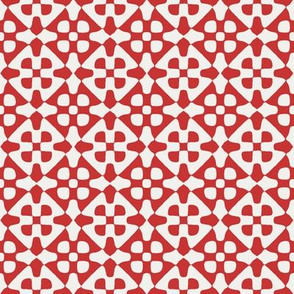 diamond checker in fifties red and pale grey
