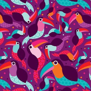 Brazillian tucan bird illustration pattern