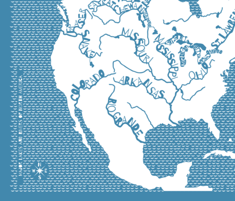 Major Lakes & Rivers of North America DECAL - blue wallpaper ... on