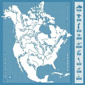 Major Lakes & Rivers of North America DECAL - blue