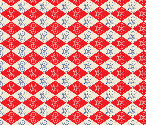red and blue bike argyle fabric by christy_kay on Spoonflower - custom fabric