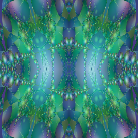 Blue Green Bubble Fractal fabric by gingezel on Spoonflower - custom fabric