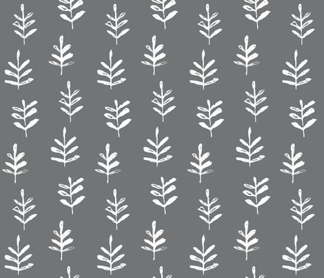 Sprigs Grey fabric by jillbyers on Spoonflower - custom fabric