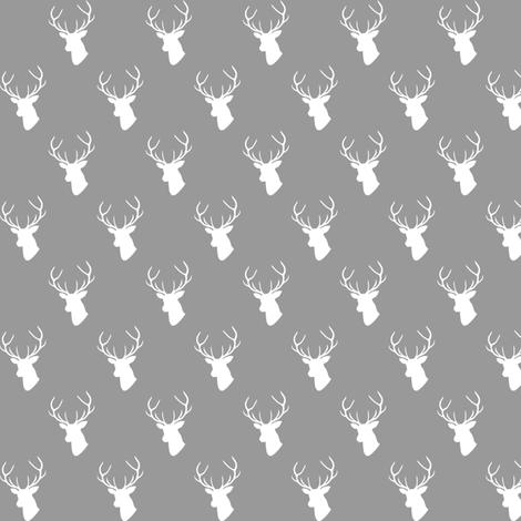 Gray Deer Silhouette mini scale fabric by mrshervi on Spoonflower - custom fabric