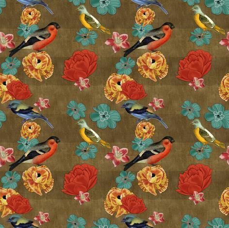 birds_burlap_dark fabric by unicornusrex on Spoonflower - custom fabric