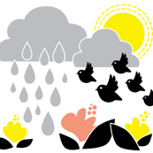 Birds moving back home / Spring Birds and Raindrops with Grey, Yellow and Black