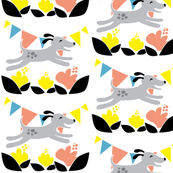 Happy Springtime / Dog Running with Colorful Flowers / Flower Fabric Yellow and Coral / Quilting fabric