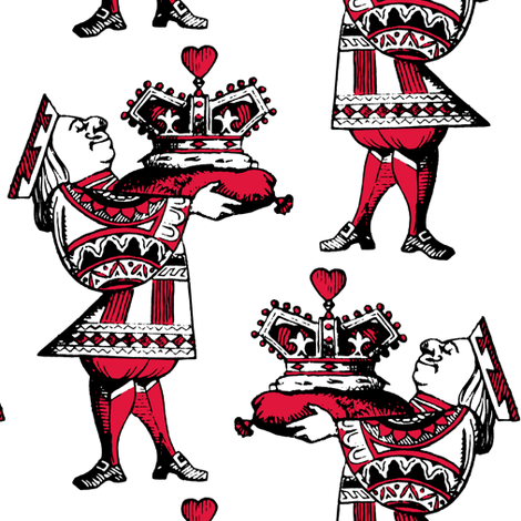 Crown of Hearts Red fabric by pond_ripple on Spoonflower - custom fabric