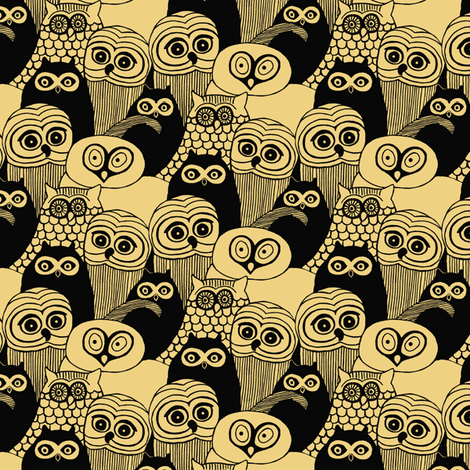 Yellow Owls fabric by sufficiency on Spoonflower - custom fabric