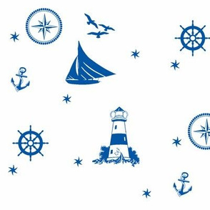 sails and starfish_blue