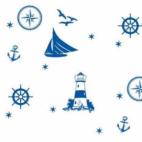 sails and starfish_blue