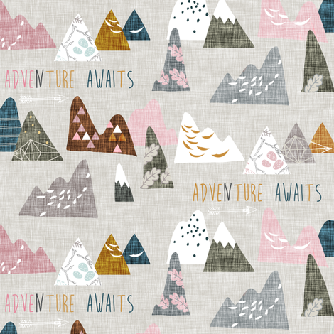 Max's Mountains (pink) SMALL fabric by nouveau_bohemian on Spoonflower - custom fabric