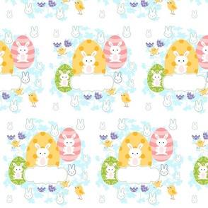 Easter Eggs and Bunnies- Template  Personalized Peach-ed