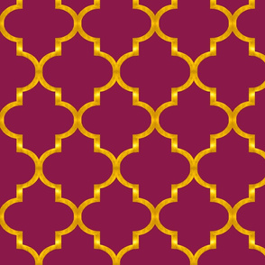 Merlot and Gold Quatrefoil
