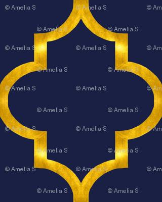 Navy and Gold Quatrefoil