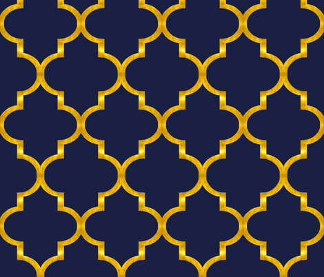 Navy and Gold Quatrefoil fabric - willowlanetextiles - Spoonflower