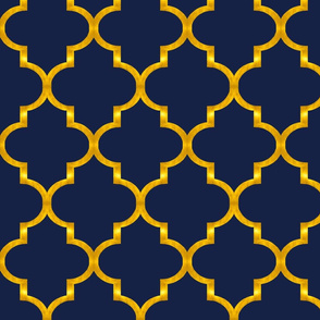 Navy and Gold Quatrefoil