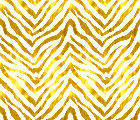 Gold and White Zebra fabric by willowlanetextiles on Spoonflower - custom fabric
