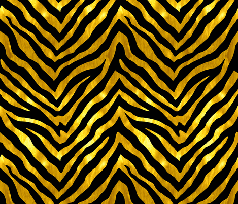 Black and Gold Zebra fabric by willowlanetextiles on Spoonflower - custom fabric