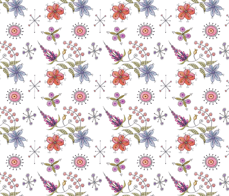 Alien floral fabric jennifergeldard spoonflower for Alien fabric