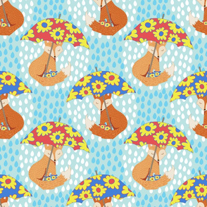 April Showers Foxes in Galoshes