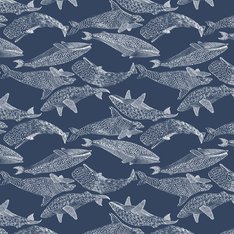 Whales in Blue fabric by mag-o on Spoonflower - custom fabric