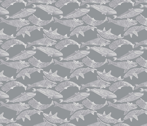 Whales in Gray fabric by mag-o on Spoonflower - custom fabric