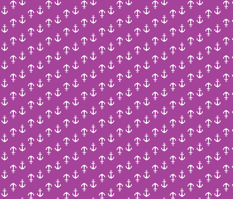 Radiant Orchid Purple Anchors fabric by vintagegreenlimited on Spoonflower - custom fabric