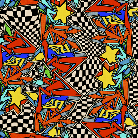 Comicville Skies fabric by whimzwhirled on Spoonflower - custom fabric
