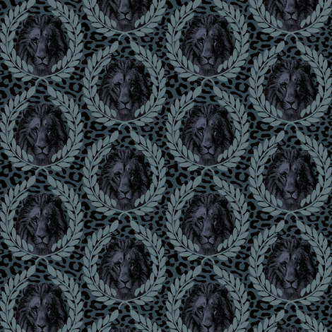 Lion on leopard blue fabric by susiprint on Spoonflower - custom fabric