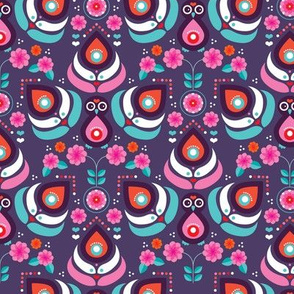 Abstract retro peacock and purple feathers